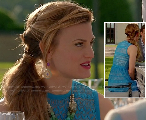 Paige's turquoise blue lace/crochet dress on Royal Pains