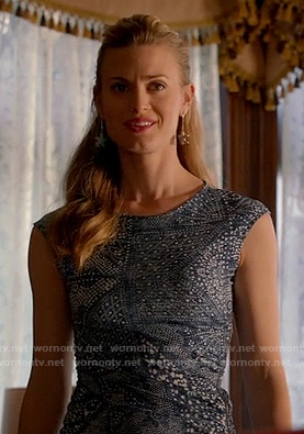 Paige's blue paisley print dress on Royal Pains