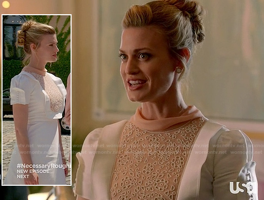 Paige's white and beige eyelet puffy sleeve dress on Royal Pains
