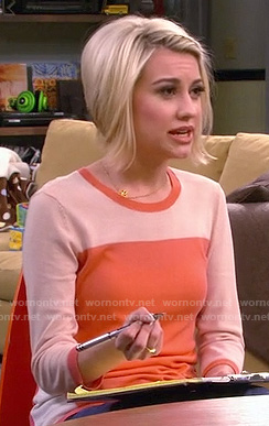 Riley's orange colorblock sweater on Baby Daddy