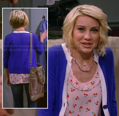 Riley's cherry print top with blue and white tipped cardigan on Baby Daddy