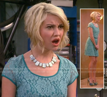 Rileys teal blue lace dress at the christening on Baby Daddy