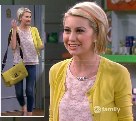 Riley's white lace top with yellow cardigan and messenger bag on Baby Daddy