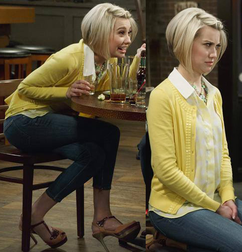 Riley's yellow beaded cardigan, polka dot top and two-tone sandals on Baby Daddy