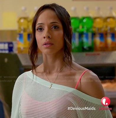 Rosie's sheer mint green off-shoulder sweater on Devious Maids