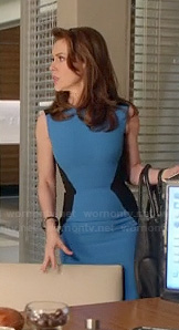Savi's blue and black colorblock dress on Mistresses