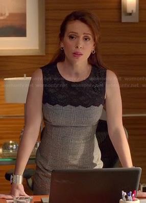 Savi's checkered dress with black lace on Mistresses