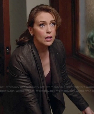 Savi's asymmetric draped leather jacket on Mistresses