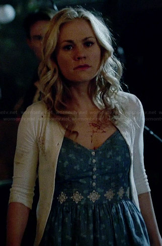 Sookie's floral embroidered chambray dress and white cardigan on True Blood