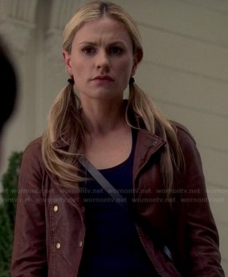 Sookie's brown leather double breasted jacket on True Blood