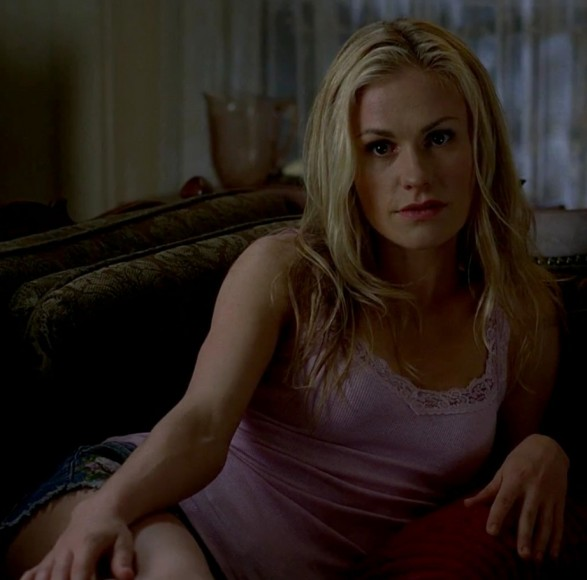 Sookie's purple lace trim tank top and denim shorts on True Blood