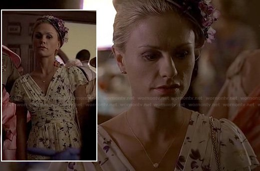 Sookie's floral pleated church dress on True Blood