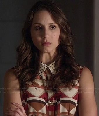Spencer's geometric print collared dress on Pretty Little Liars