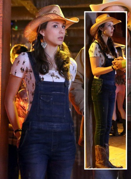 Spencer's denim overalls and cowboy crop top on PLL