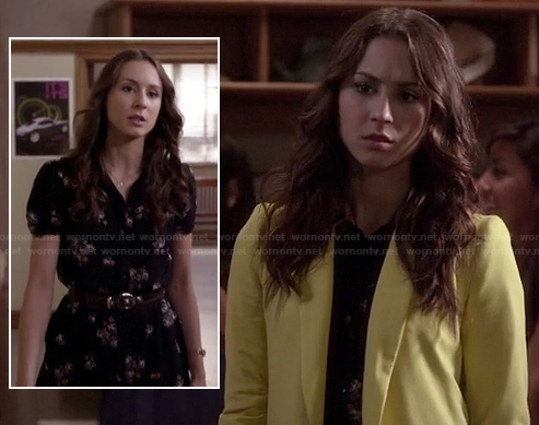 Spencer's black floral dress and yellow blazer on Pretty Little Liars