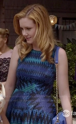 Talya's blue zig zag print dress at the wedding on The Fosters
