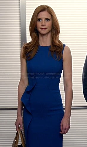 Donna's blue dress with side ruffle on Suits
