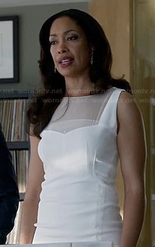 Jessica's white mesh insert dress on Suits
