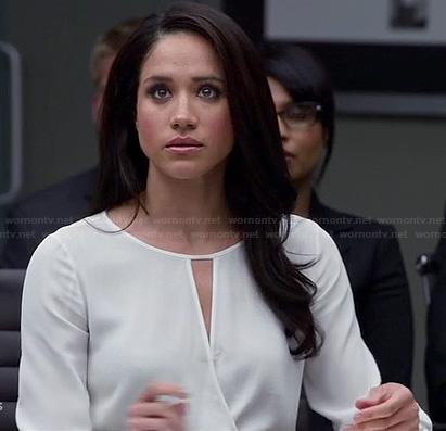 Rachel's white keyhole wrap top on Suits
