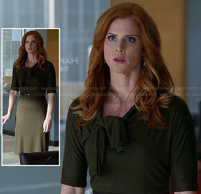 Donna's olive green neck tie dress on Suits