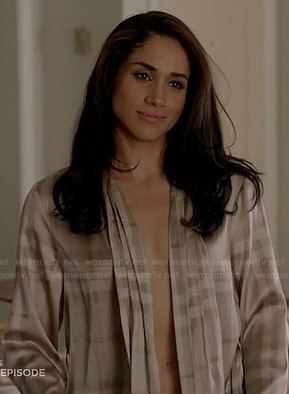 Rachel's check Burberry bathrobe on Suits