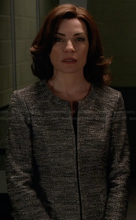 Alicia's grey tweed jacket on The Good Wife