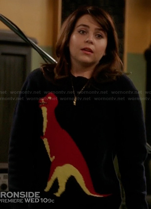 Amber's t-rex sweater on Parenthood
