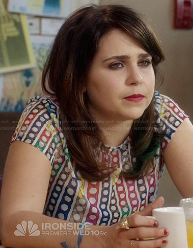 Amber's multicolored print tee on Parenthood