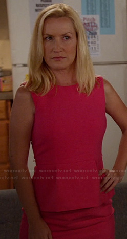 Angela Kinsey's pink peplum dress on New Girl