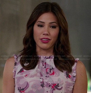 Angela's purple floral sleeveless top with ruffles on Bones