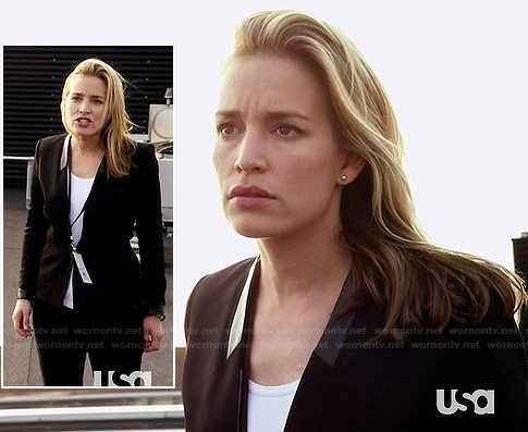 Annie's black leather trim blazer on Covert Affairs
