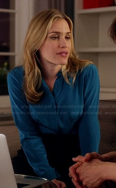 Annie's blue satin button front blouse on Covert Affairs