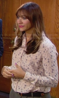 Ann's beige anchor print blouse on Parks and Recreation