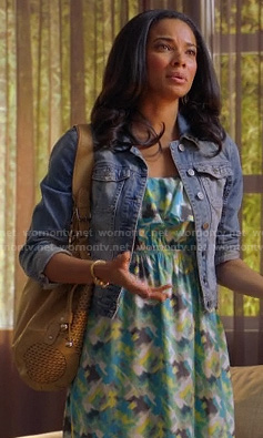 April's blue and green printed maxi dress and denim jacket on Mistresses