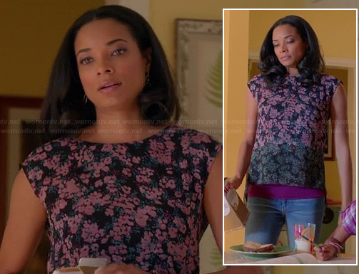 April's pink and green floral top on Mistresses