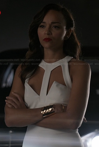 Ashley's white cutout dress on Revenge