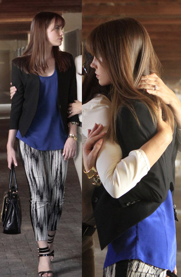 Charlotte's black and white printed pants and cropped blazer on Revenge