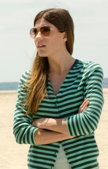 Debra's green striped cardigan on Dexter