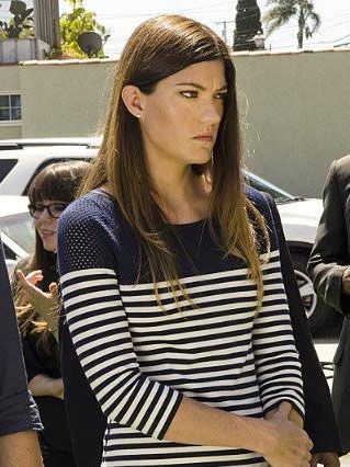 Debra's navy blue striped mesh top on Dexter