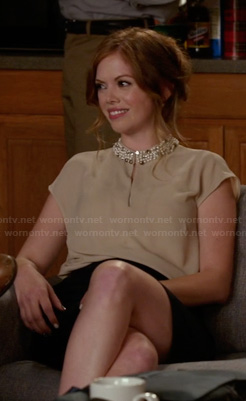 Molly (Dreama Walker)'s beige keyhole blouse with embellished collar on New Girl