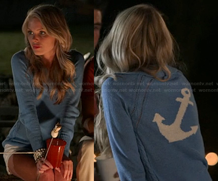 Emily's blue anchor sweater on The Vineyard