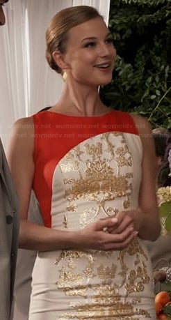 Emily's white and gold dress with orange on Revenge