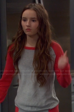 Eve's red and grey shoulder button baseball sweater on Last Man Standing