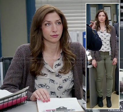 Gina's bike print blouse on Brooklyn Nine Nine