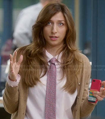 Gina's floral neck tie, brown cardigan and striped iPhone case on Brooklyn Nine Nine