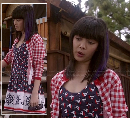 Grace's blue anchor/boat wheel print dress on Camp