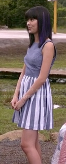 Grace's chambray blue and white striped dress on Camp