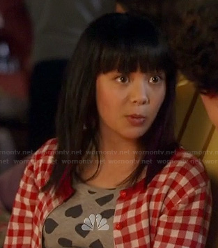 Grace's grey heart print top and red gingham check cardigan on Camp