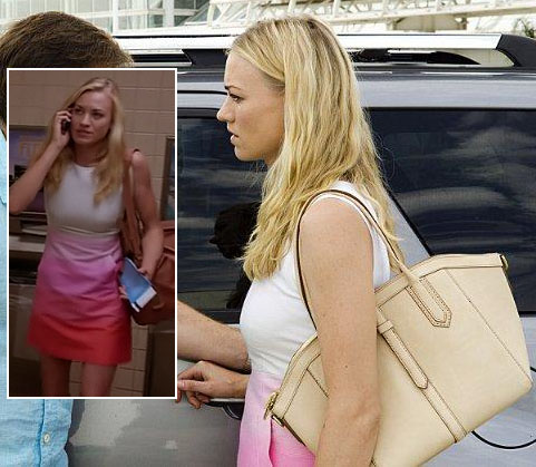 Hannah's orange, pink and white ombre dress and beige tote on Dexter