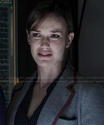 Jemma's grey blazer with burgundy trim on Agents of S.H.I.E.L.D